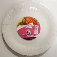 Pack of 18 23cm paper plates (Code 3208)